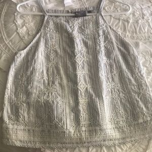Anthropologie Grey and white tank